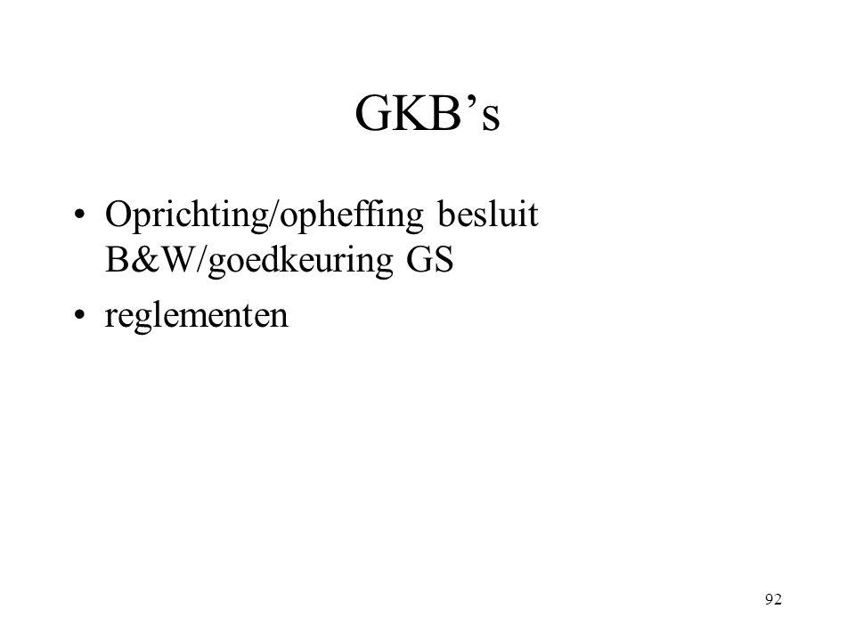 GKB's Oprichting/opheffing besluit B&W/goedkeuring GS reglementen