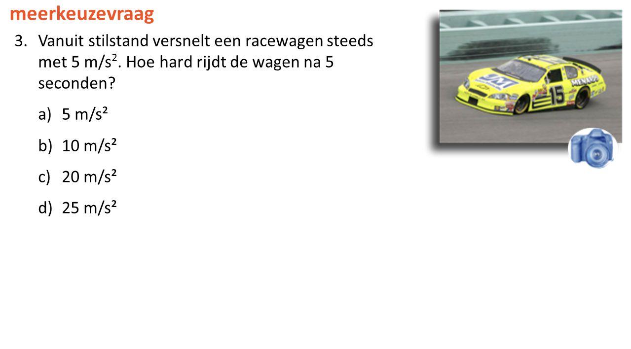 meerkeuzevraag Vanuit stilstand versnelt een racewagen steeds met 5 m/s2. Hoe hard rijdt de wagen na 5 seconden