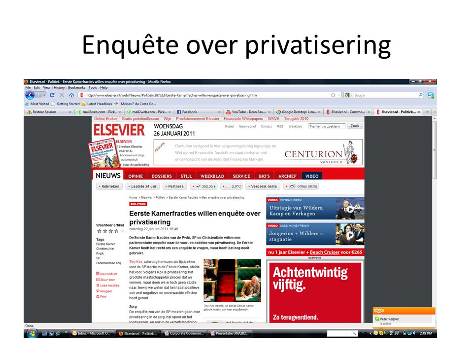 Enquête over privatisering