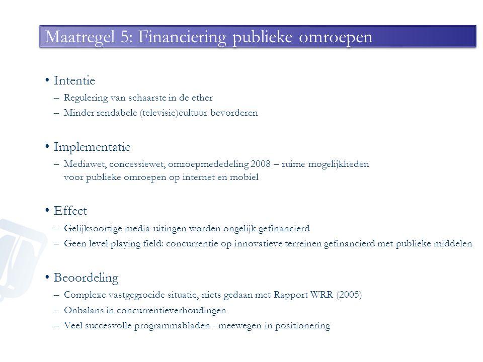 Maatregel 5: Financiering publieke omroepen