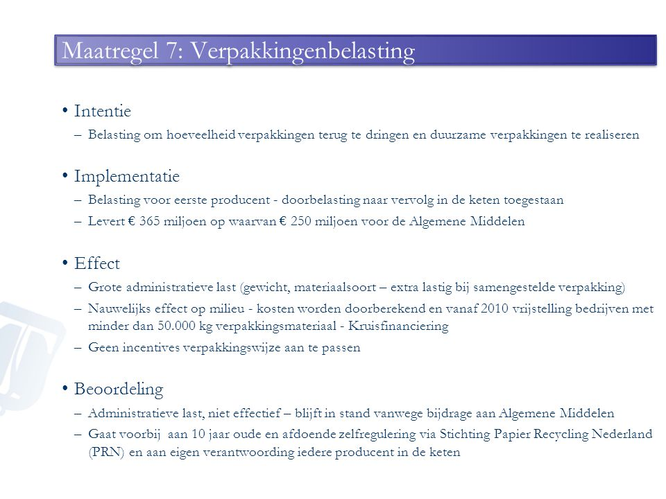 Maatregel 7: Verpakkingenbelasting