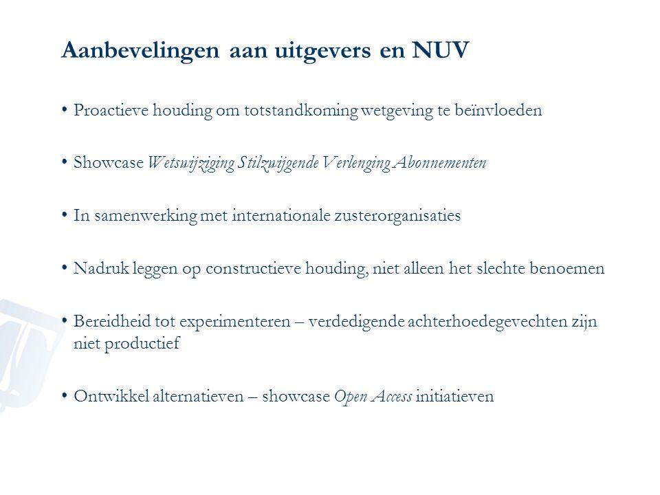Aanbevelingen aan uitgevers en NUV