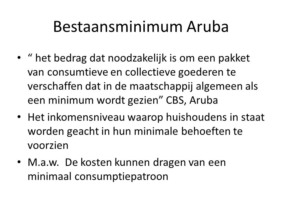 Bestaansminimum Aruba