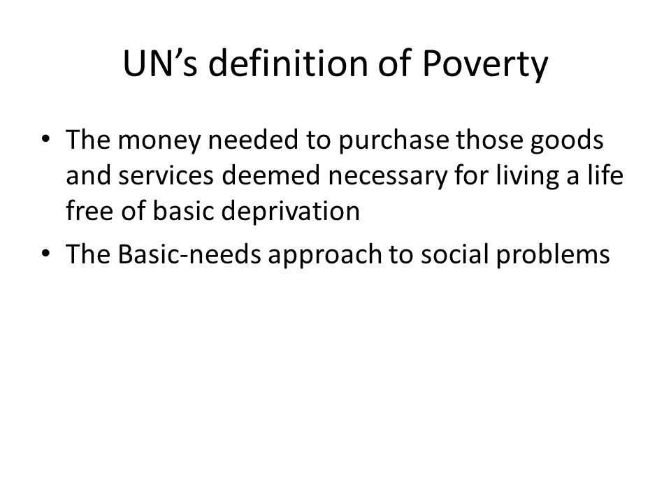 UN's definition of Poverty
