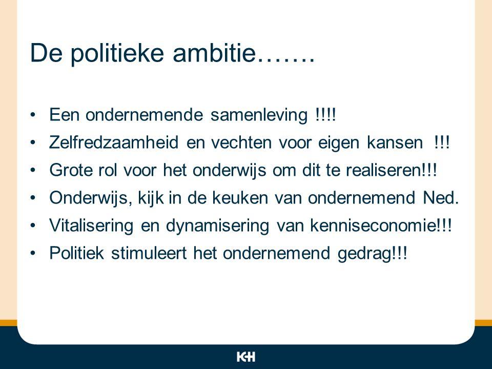 De politieke ambitie…….