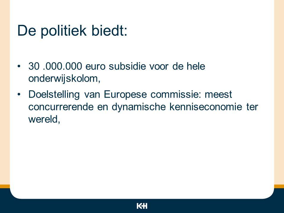 De politiek biedt: 30 .000.000 euro subsidie voor de hele onderwijskolom,
