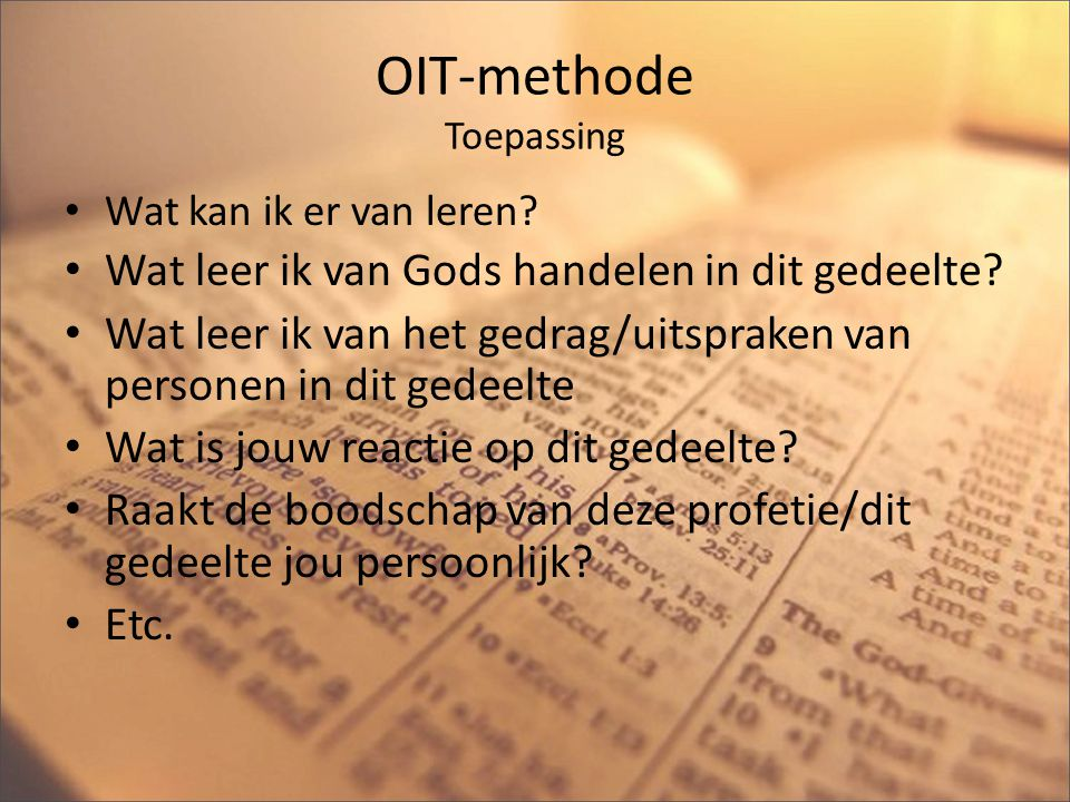 OIT-methode Toepassing