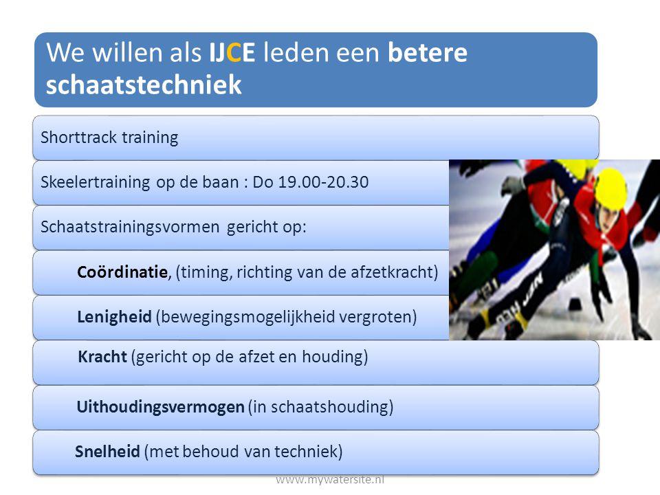 We willen als IJCE leden een betere schaatstechniek