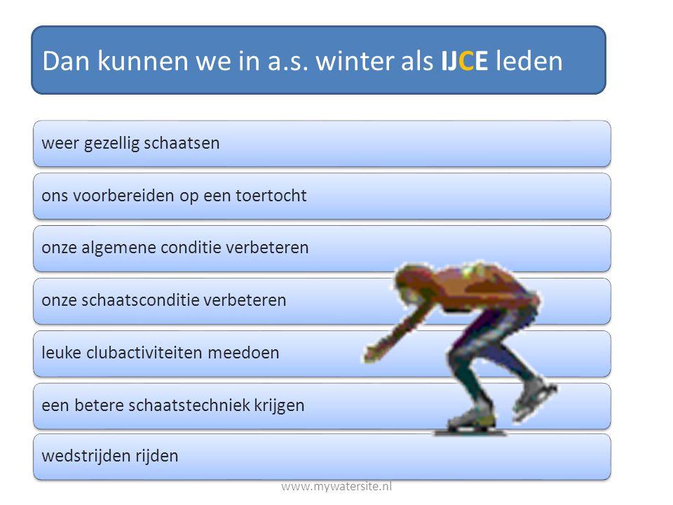 Dan kunnen we in a.s. winter als IJCE leden