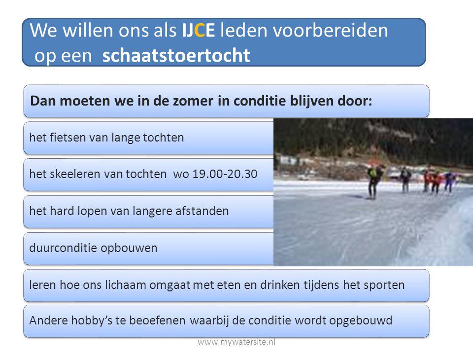 We willen ons als IJCE leden voorbereiden op een schaatstoertocht