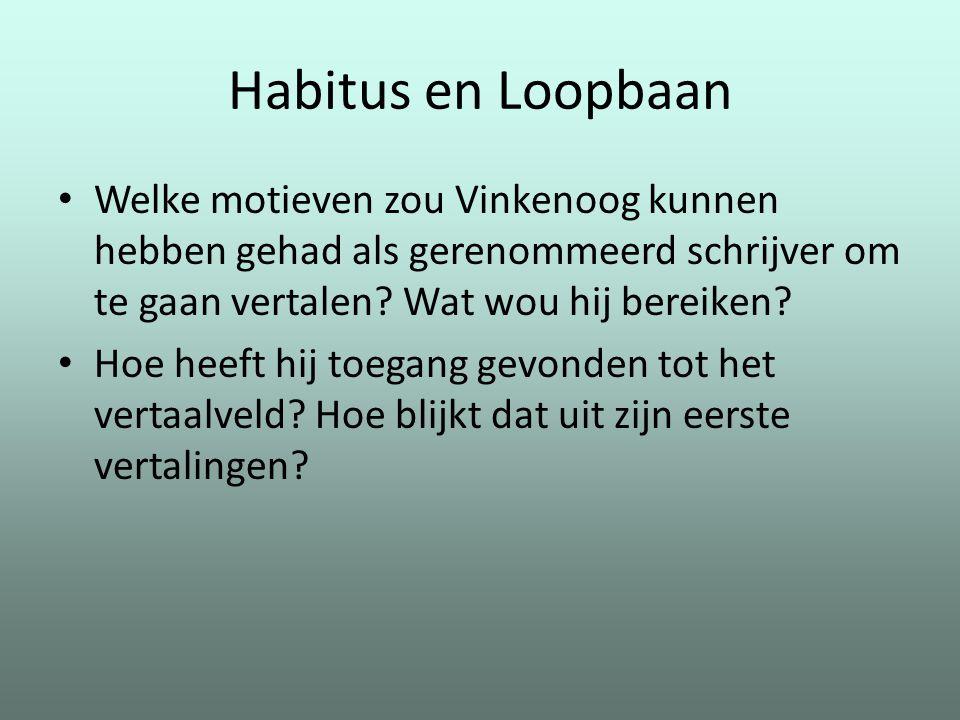 Habitus en Loopbaan Welke motieven zou Vinkenoog kunnen hebben gehad als gerenommeerd schrijver om te gaan vertalen Wat wou hij bereiken