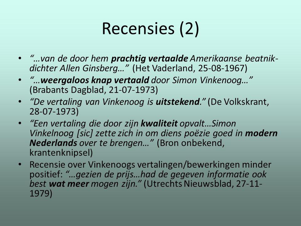Recensies (2) …van de door hem prachtig vertaalde Amerikaanse beatnik-dichter Allen Ginsberg… (Het Vaderland, 25-08-1967)