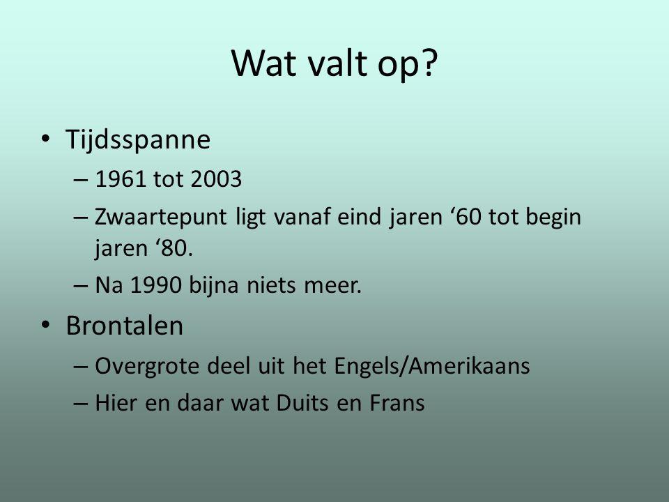 Wat valt op Tijdsspanne Brontalen 1961 tot 2003