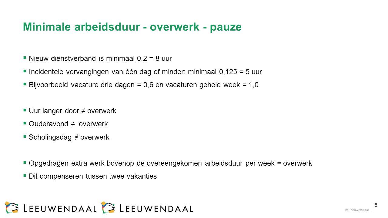 Minimale arbeidsduur - overwerk - pauze