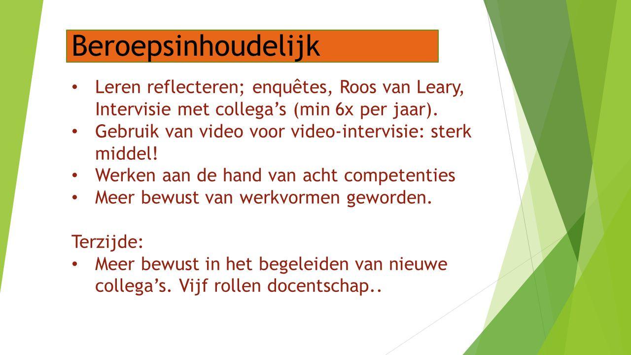 Beroepsinhoudelijk Leren reflecteren; enquêtes, Roos van Leary, Intervisie met collega's (min 6x per jaar).