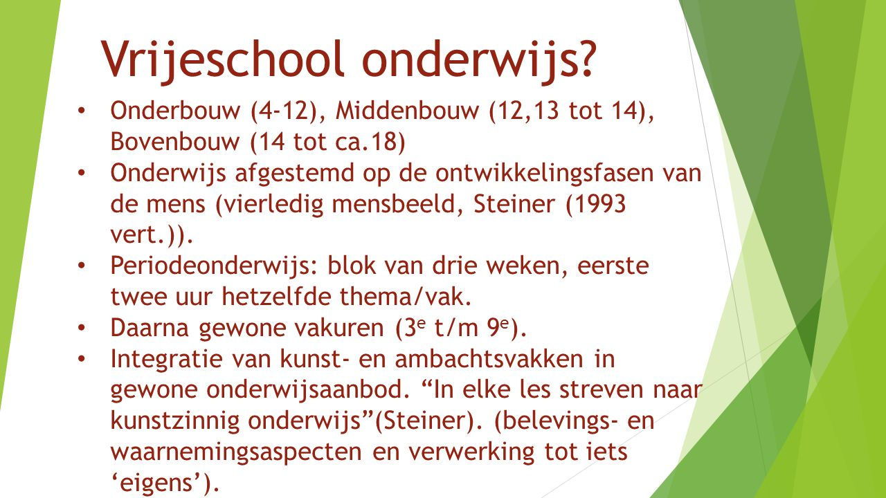 Vrijeschool onderwijs