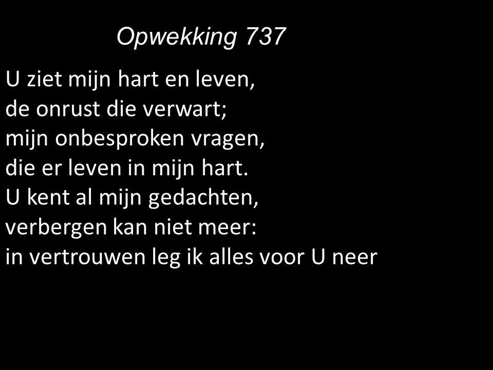 Opwekking 737 U ziet mijn hart en leven, de onrust die verwart; mijn onbesproken vragen, die er leven in mijn hart.