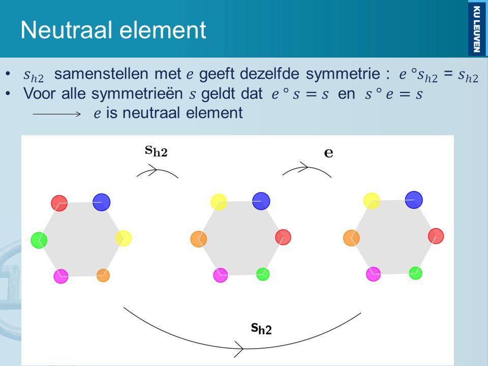 Neutraal element 𝑠 ℎ2 samenstellen met 𝑒 geeft dezelfde symmetrie : 𝑒 ° 𝑠 ℎ2 = 𝑠 ℎ2. Voor alle symmetrieën 𝑠 geldt dat 𝑒 ° 𝑠=𝑠 en 𝑠 ° 𝑒=𝑠.