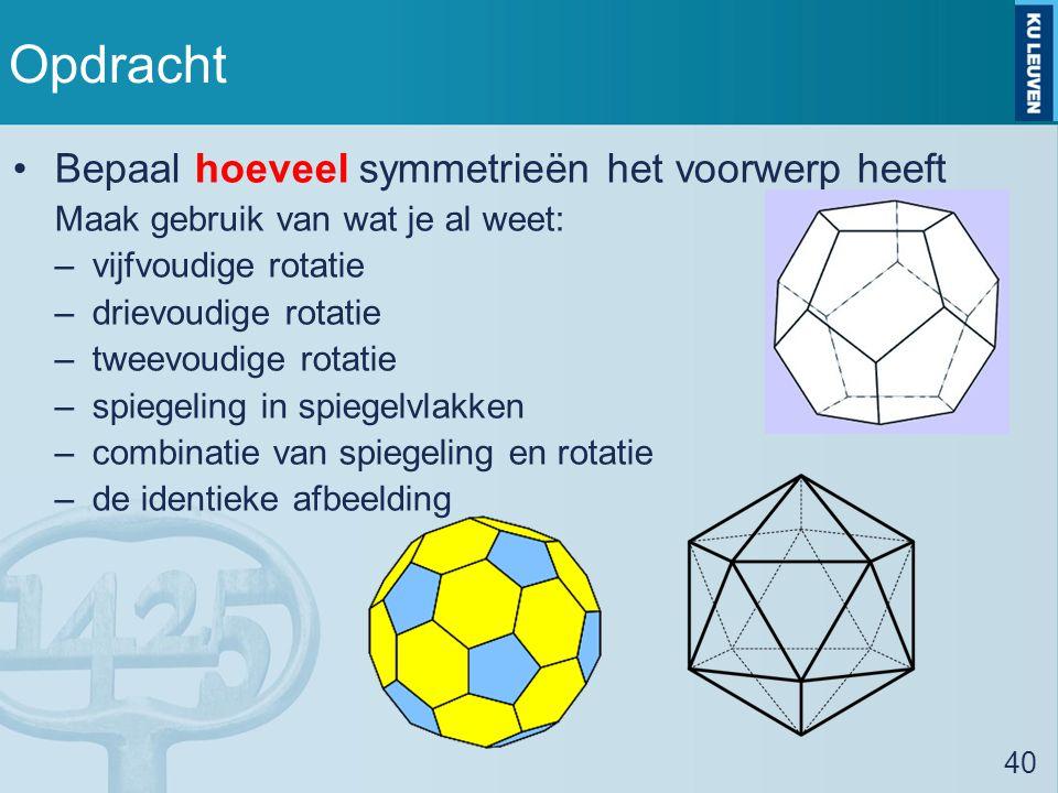 Opdracht Bepaal hoeveel symmetrieën het voorwerp heeft