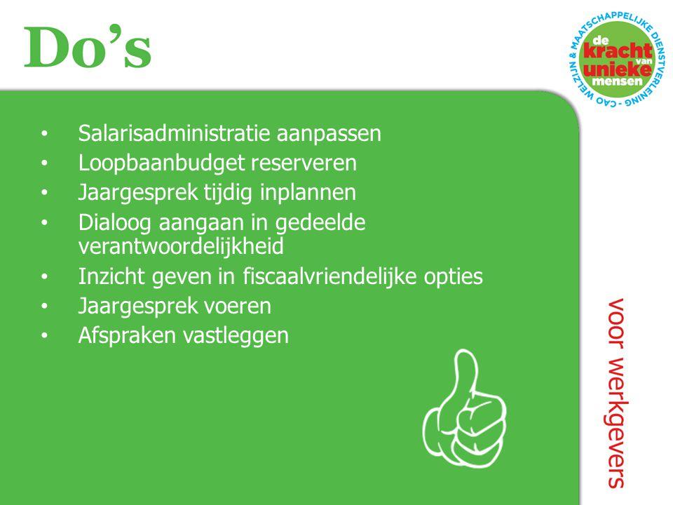 Salarisadministratie aanpassen Loopbaanbudget reserveren