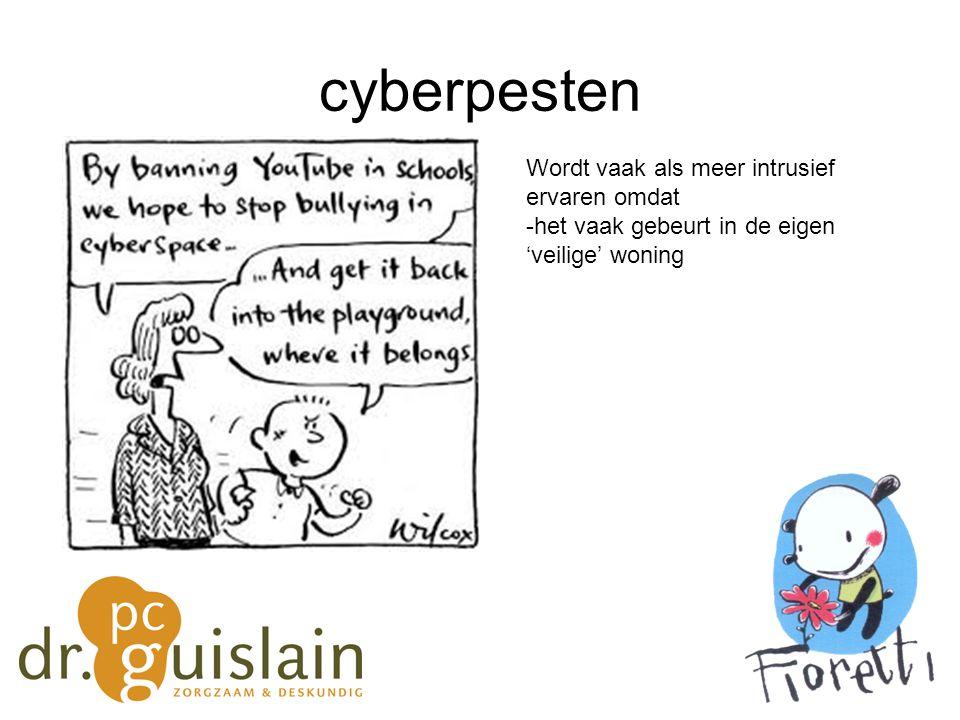cyberpesten Wordt vaak als meer intrusief ervaren omdat