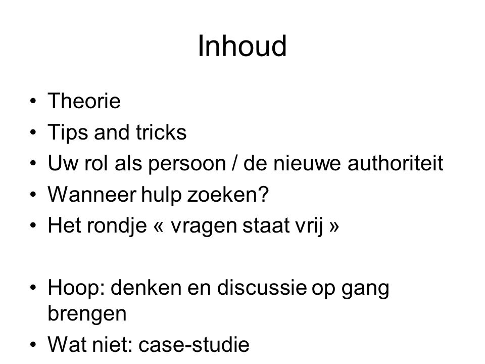 Inhoud Theorie Tips and tricks