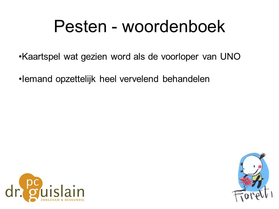 Pesten - woordenboek Kaartspel wat gezien word als de voorloper van UNO.