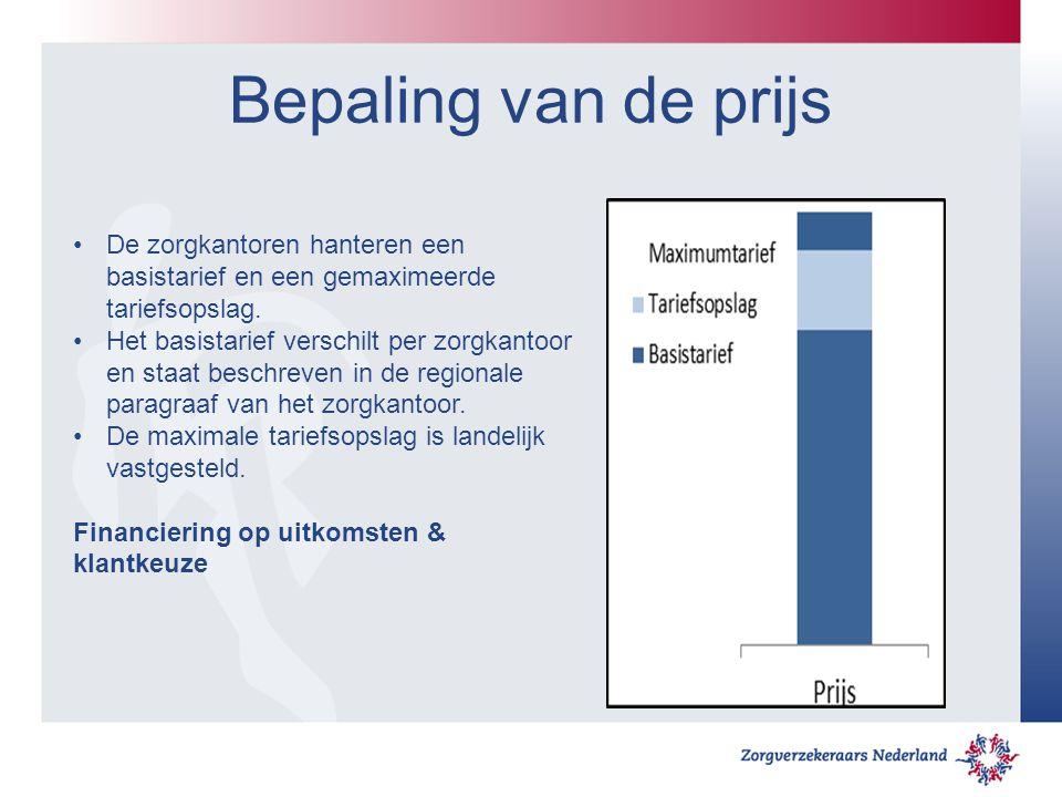 Bepaling van de prijs De zorgkantoren hanteren een basistarief en een gemaximeerde tariefsopslag.