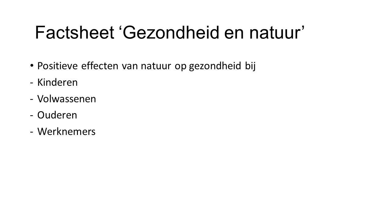 Factsheet 'Gezondheid en natuur'