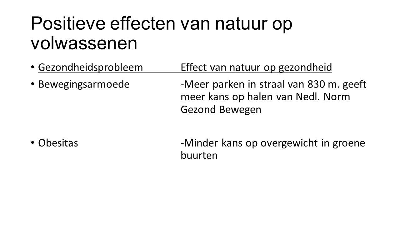 Positieve effecten van natuur op volwassenen