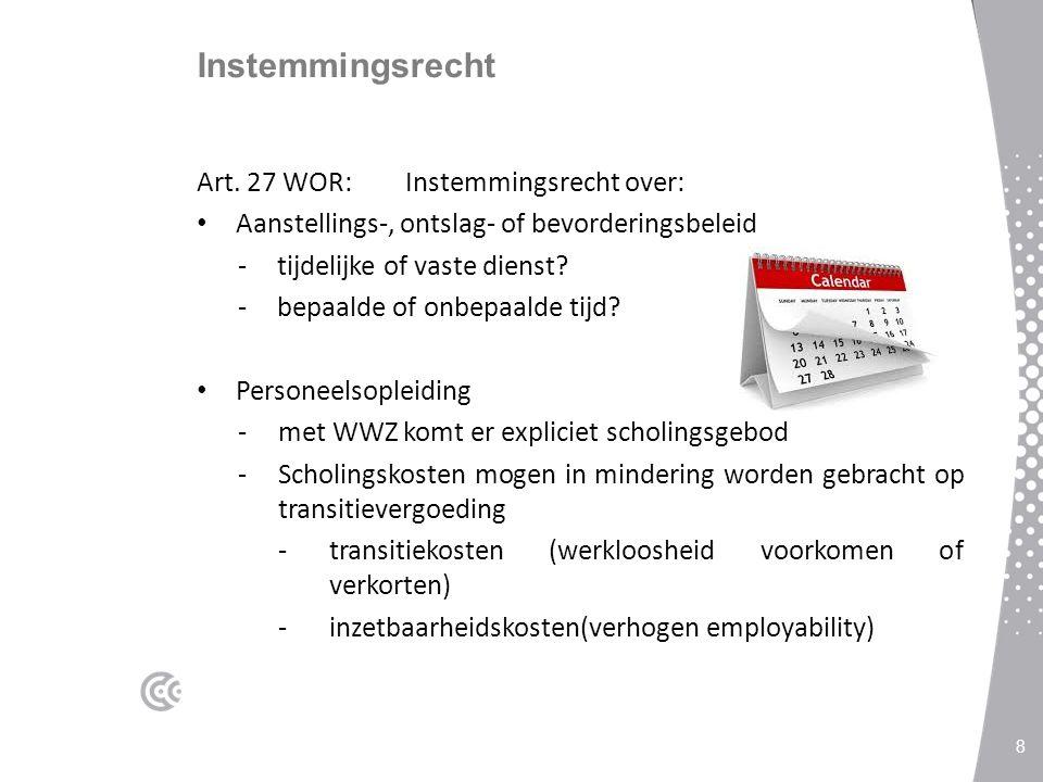 Instemmingsrecht Art. 27 WOR: Instemmingsrecht over: