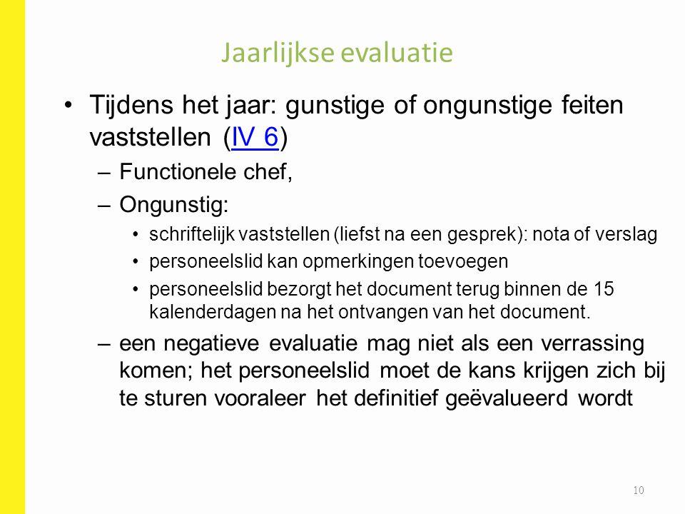 Jaarlijkse evaluatie Tijdens het jaar: gunstige of ongunstige feiten vaststellen (IV 6) Functionele chef,
