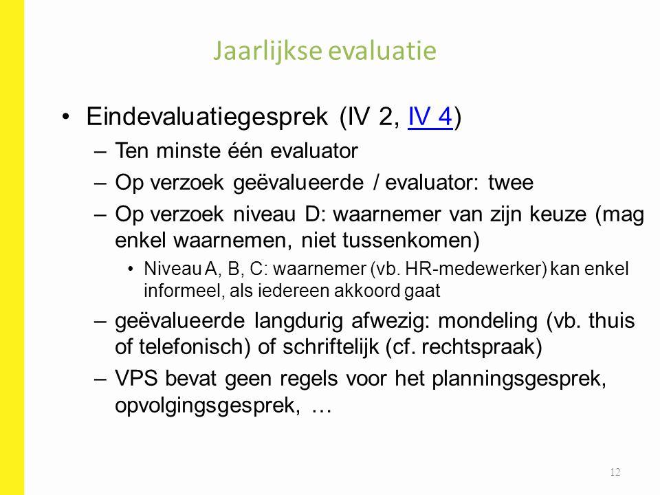 Jaarlijkse evaluatie Eindevaluatiegesprek (IV 2, IV 4)