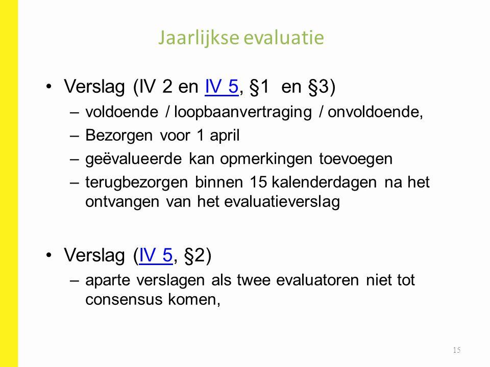 Jaarlijkse evaluatie Verslag (IV 2 en IV 5, §1 en §3)
