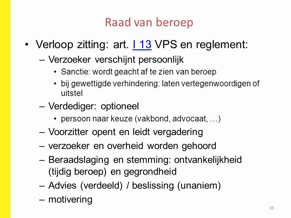 Raad van beroep Verloop zitting: art. I 13 VPS en reglement: