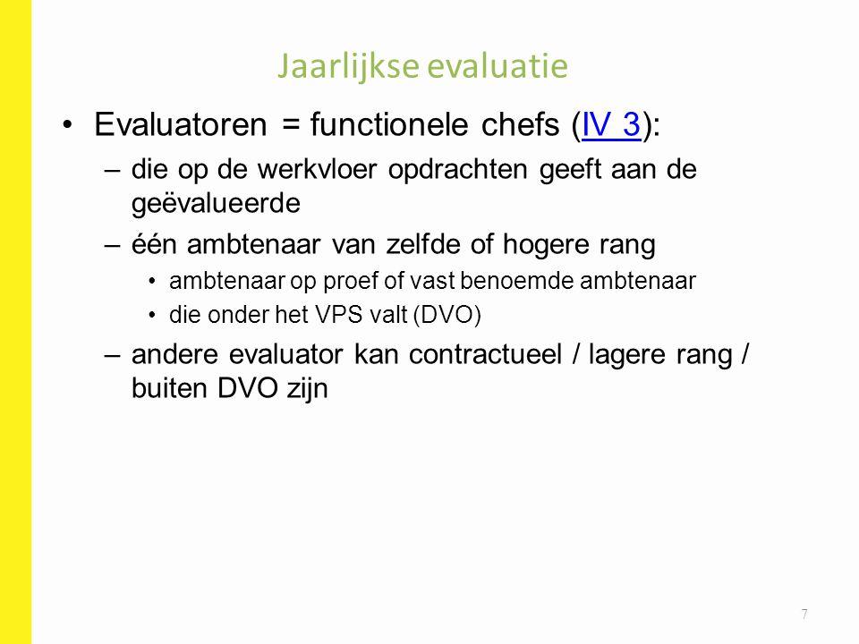 Jaarlijkse evaluatie Evaluatoren = functionele chefs (IV 3):