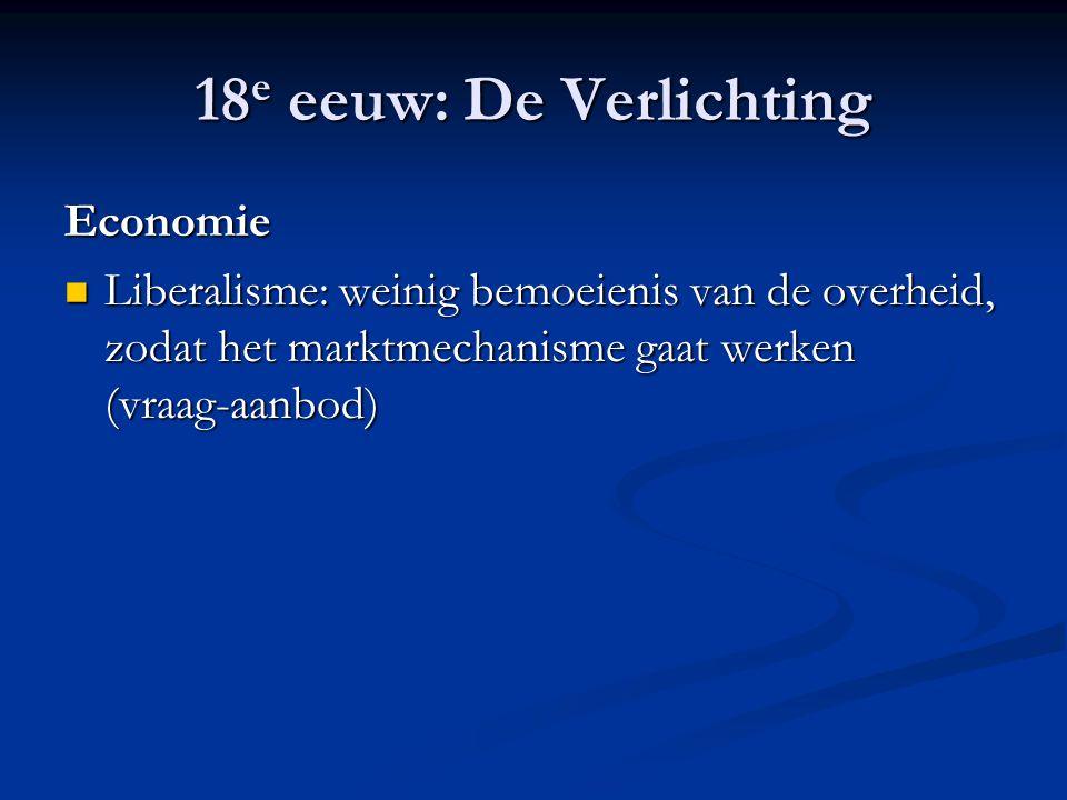 18e eeuw: De Verlichting Economie
