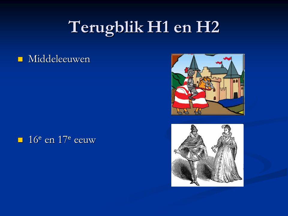 Terugblik H1 en H2 Middeleeuwen 16e en 17e eeuw
