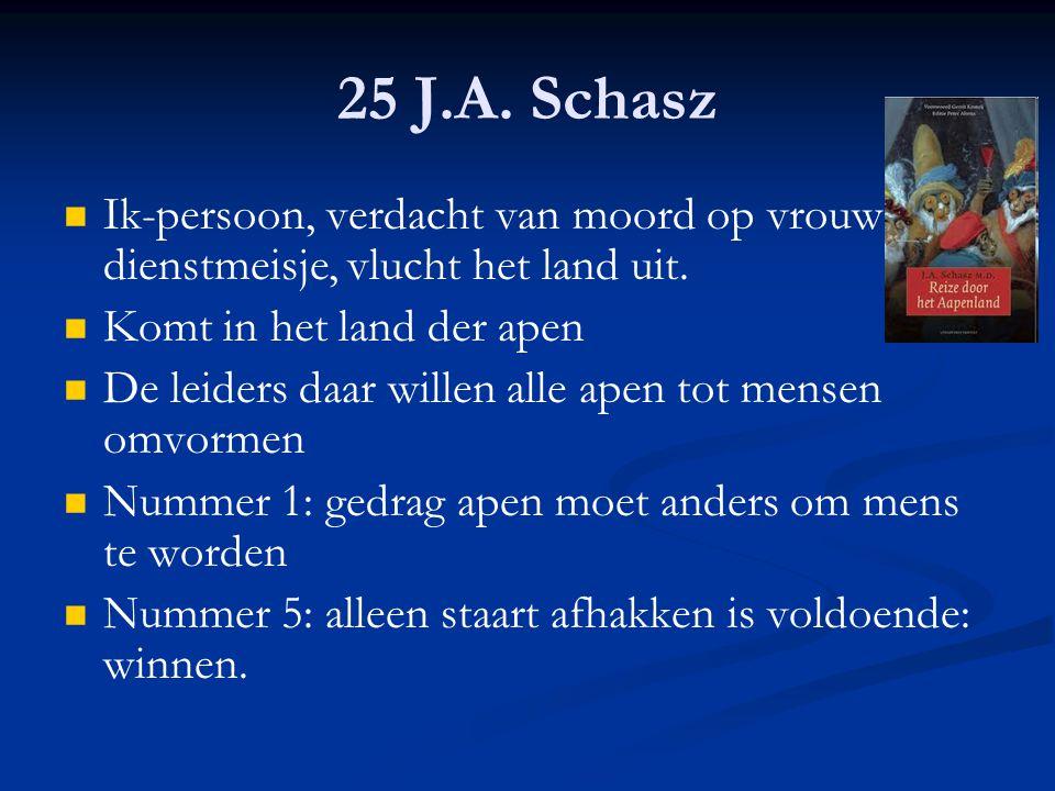 25 J.A. Schasz Ik-persoon, verdacht van moord op vrouw + dienstmeisje, vlucht het land uit. Komt in het land der apen.