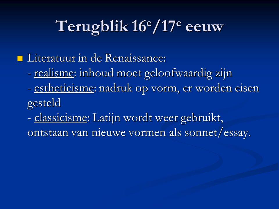 Terugblik 16e/17e eeuw