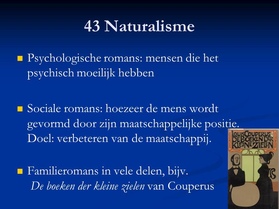 43 Naturalisme Psychologische romans: mensen die het psychisch moeilijk hebben.