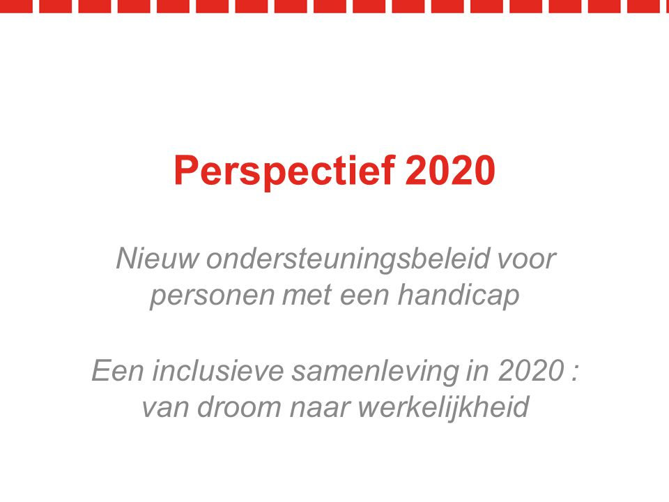 Een inclusieve samenleving in 2020 : van droom naar werkelijkheid