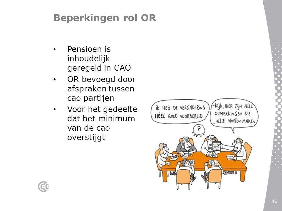 Beperkingen rol OR Pensioen is inhoudelijk geregeld in CAO