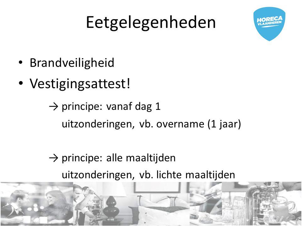 Eetgelegenheden Vestigingsattest! → principe: vanaf dag 1