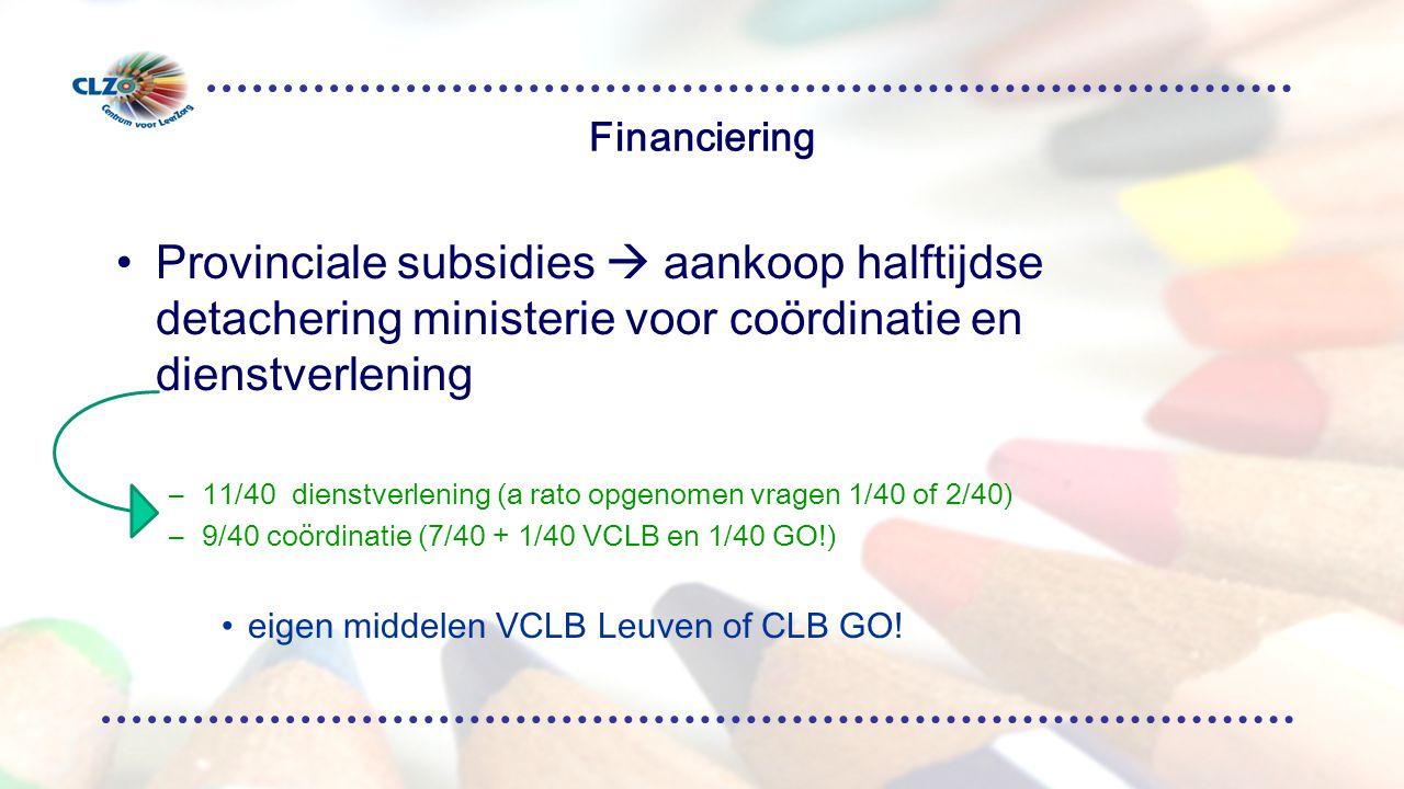 Financiering Provinciale subsidies  aankoop halftijdse detachering ministerie voor coördinatie en dienstverlening.