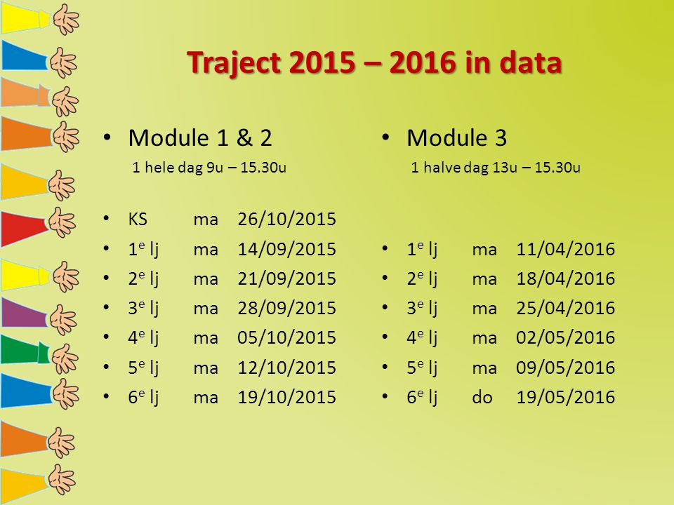 Traject 2015 – 2016 in data Module 1 & 2 Module 3 KS ma 26/10/2015