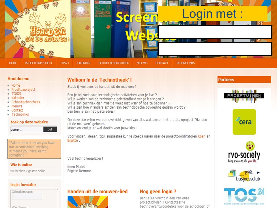 Login met : Screenshot Website