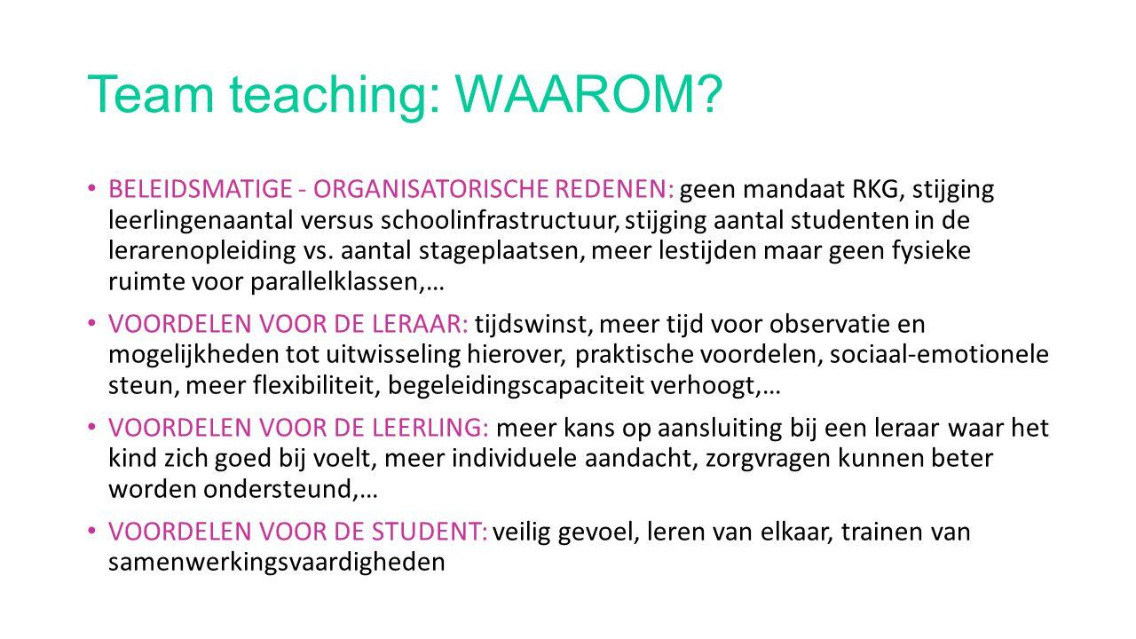 Team teaching: WAAROM