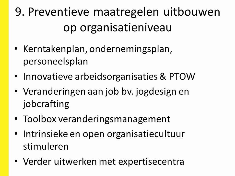 9. Preventieve maatregelen uitbouwen op organisatieniveau