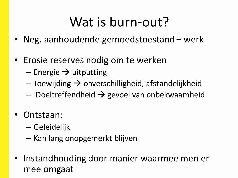 Wat is burn-out Neg. aanhoudende gemoedstoestand – werk